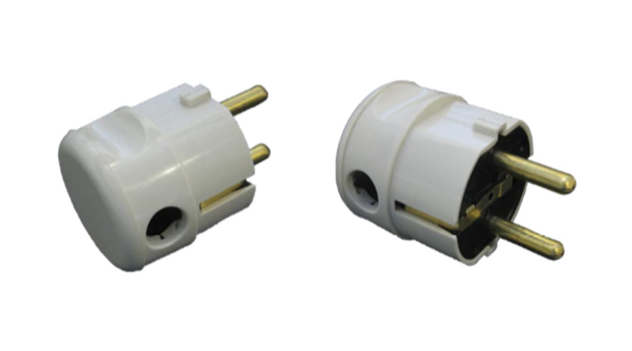 Schuko CEE7 Type-F 16A bottom entry plug