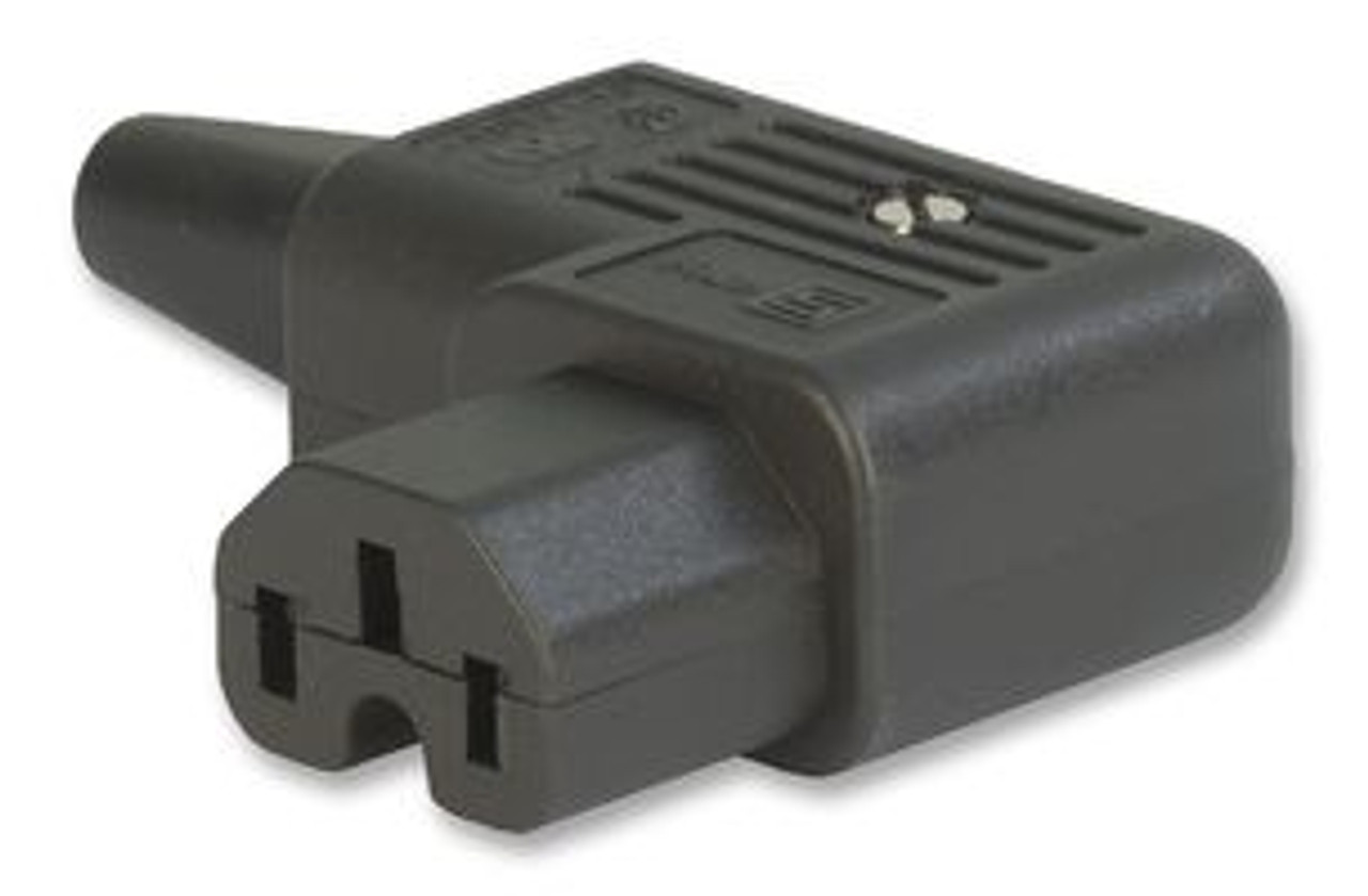IEC C15 10A (120degC) 'Left Hand' entry angle socket - Black