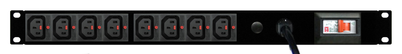 PDU: 8x Outlets | IEC-Lock C13 | 19'' 1RU Horizontal | Cable