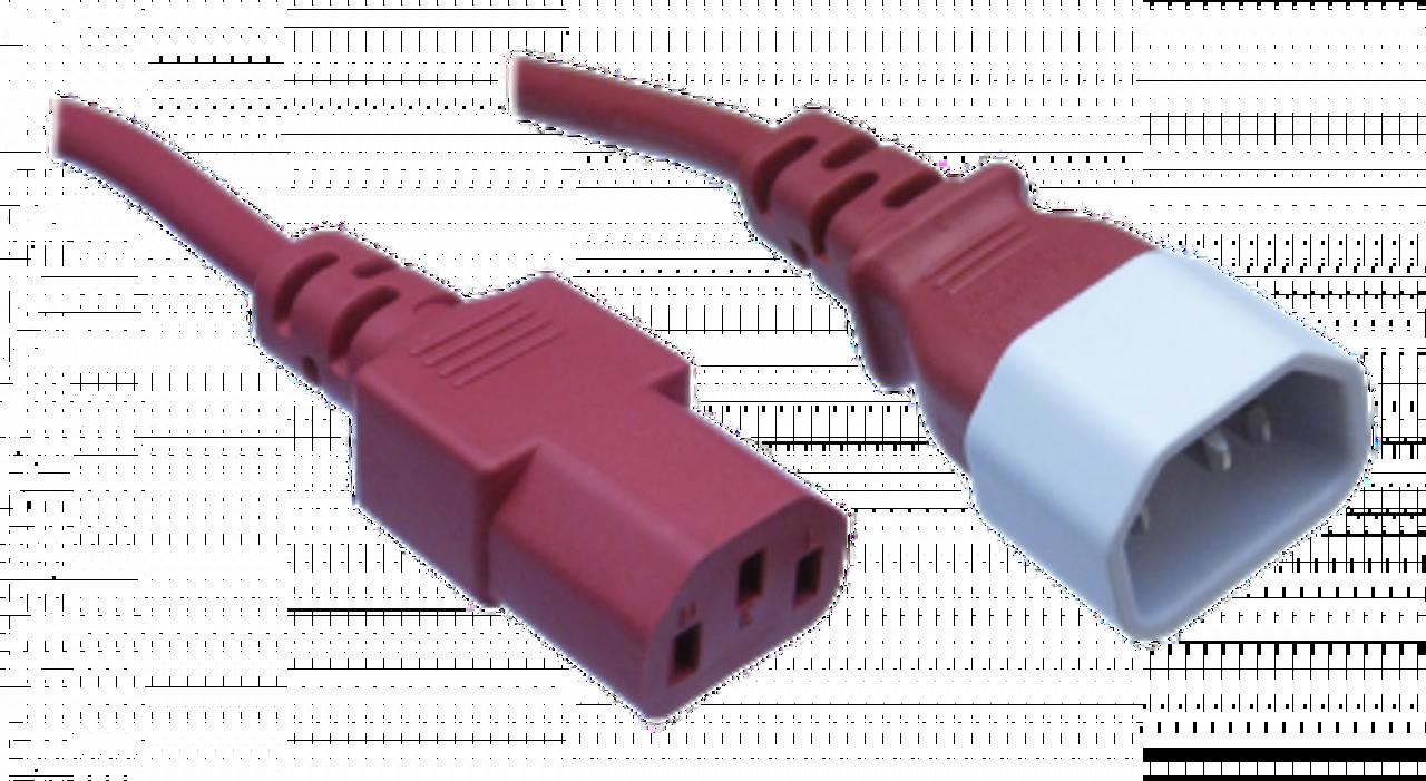 IEC C14 10A plug - IEC C13 10A socket, Red lead