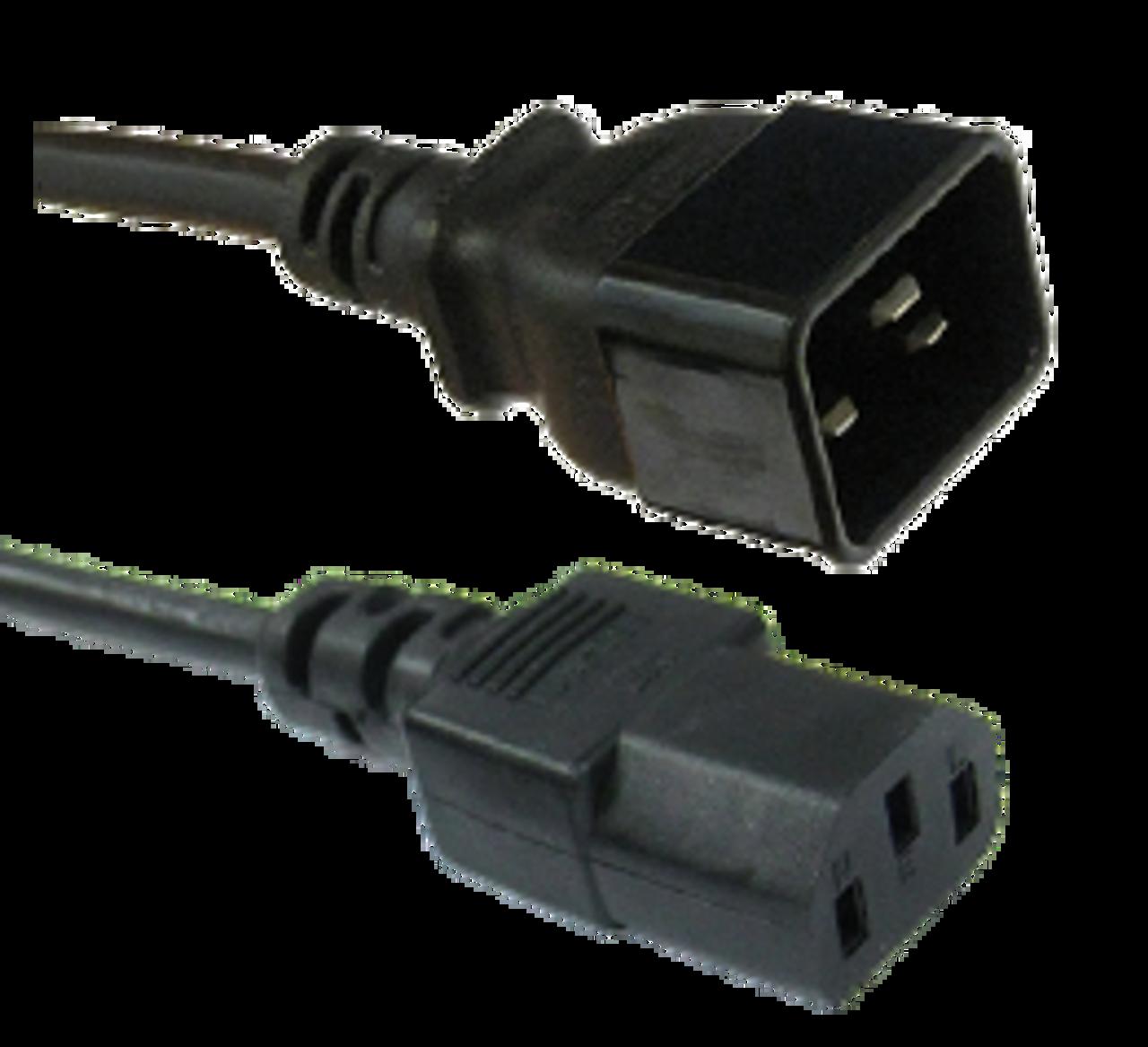 IEC C20 16A plug - IEC C13 10A socket, black lead (1.5mm2)