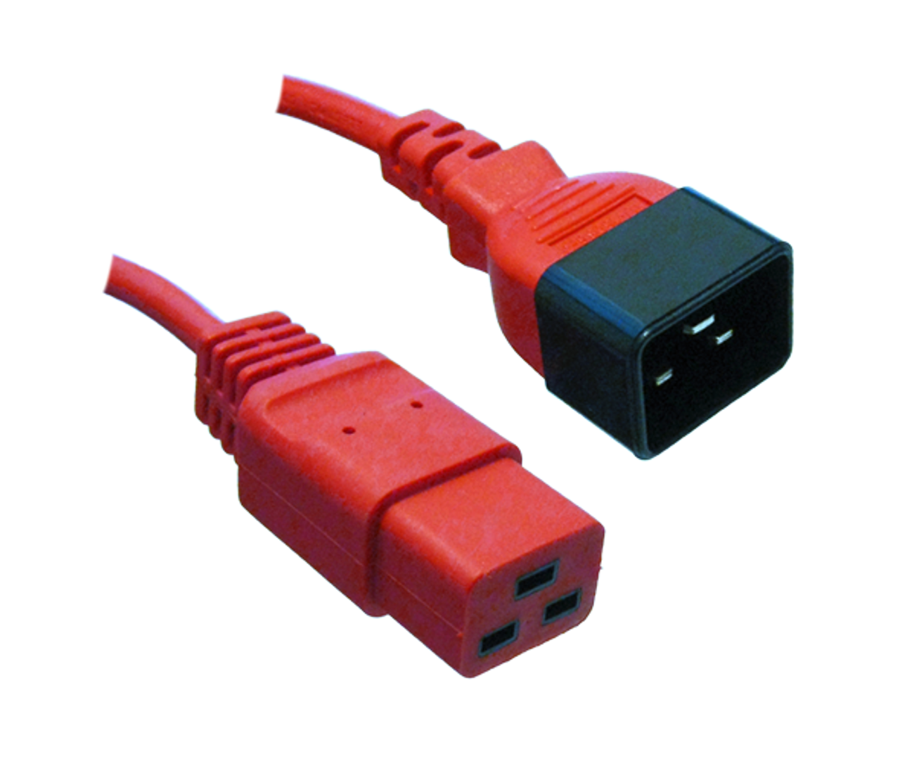 IEC C20 16A plug - IEC C19 16A socket, Red lead