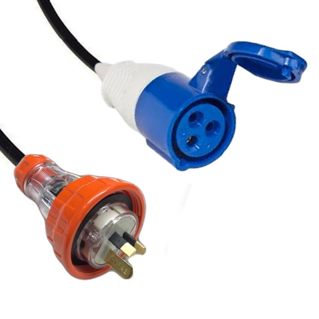 Captive (AS 3123) 15A [IP66] Flat pin Plug   >   IEC (60309) 16A [IP44] 2P+E 6H - Blue socket