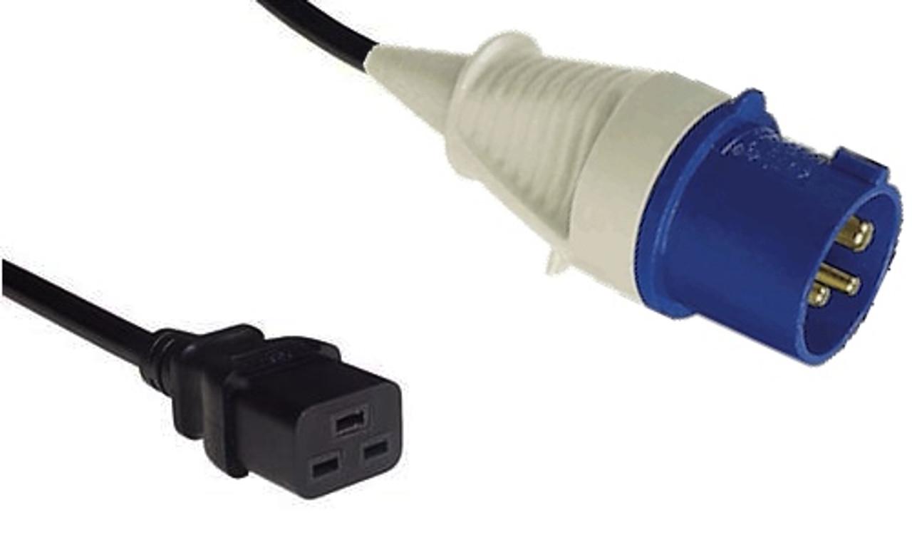 IEC (60309) 16A [IP44] 2P+E '6H' - Blue plug   >  IEC (60320) C19 16A socket