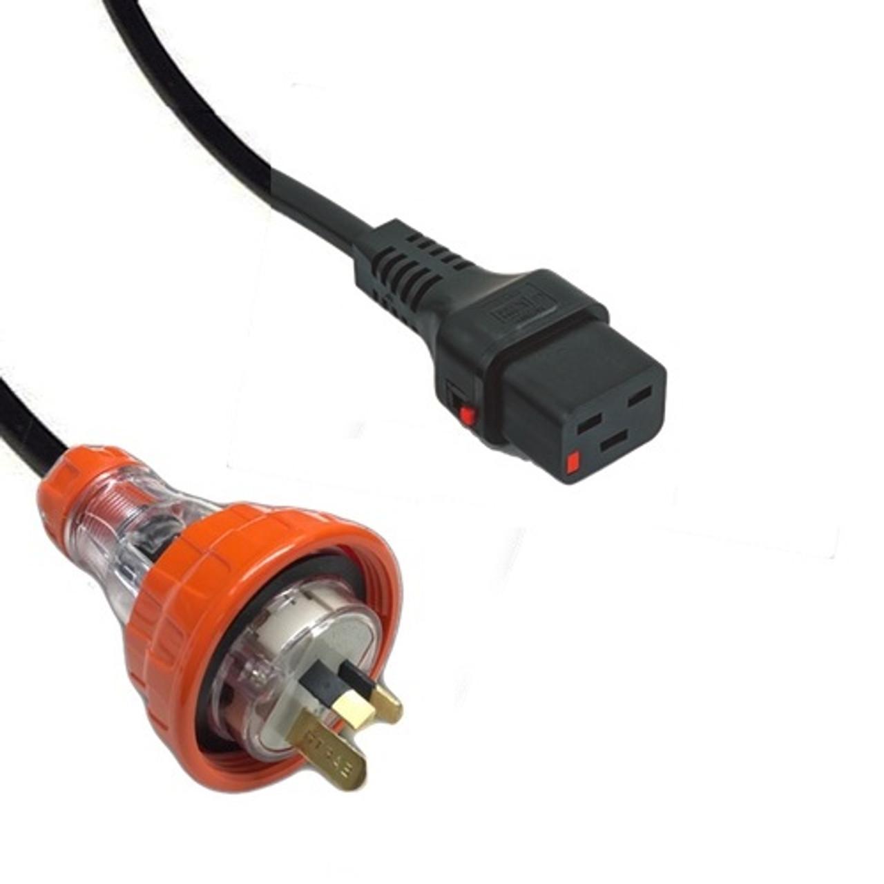 Captive (AS 3123) 15A [IP66] Flat Pin plug   >   IEC-Lock C19 16A socket