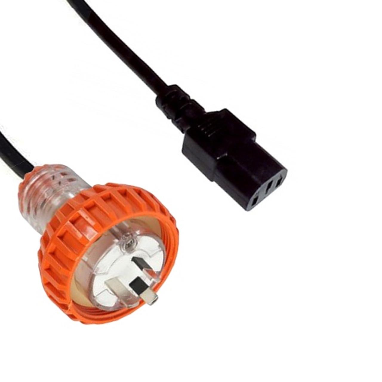 Custom Cable: Captive 10A plug - IEC (60320) C13 10A socket, Black lead