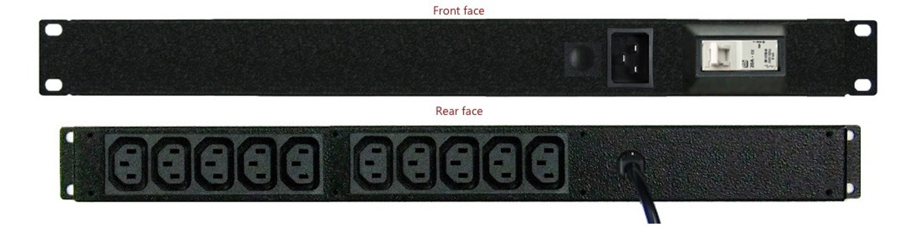 Front facing IEC inlet and circuit breaker, Rear facing outlets (also showing optional lead)