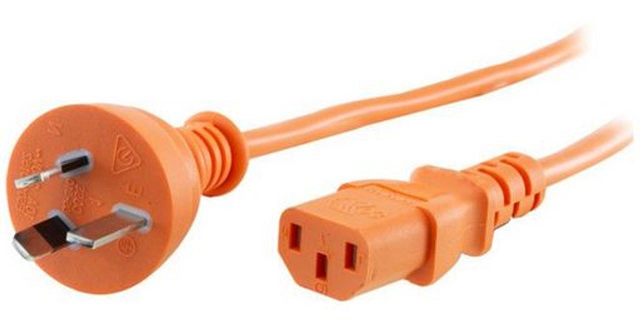 GPO 10A plug - IEC C13 10A socket, ORANGE lead
