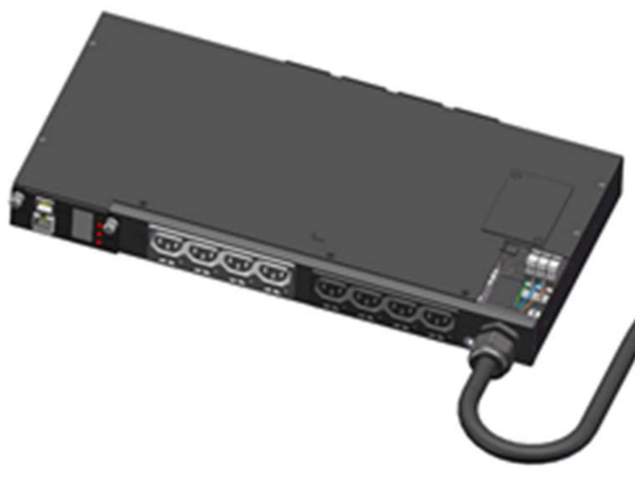Front-Top view: shows rewireable input cable and front IEC C13 outlets
