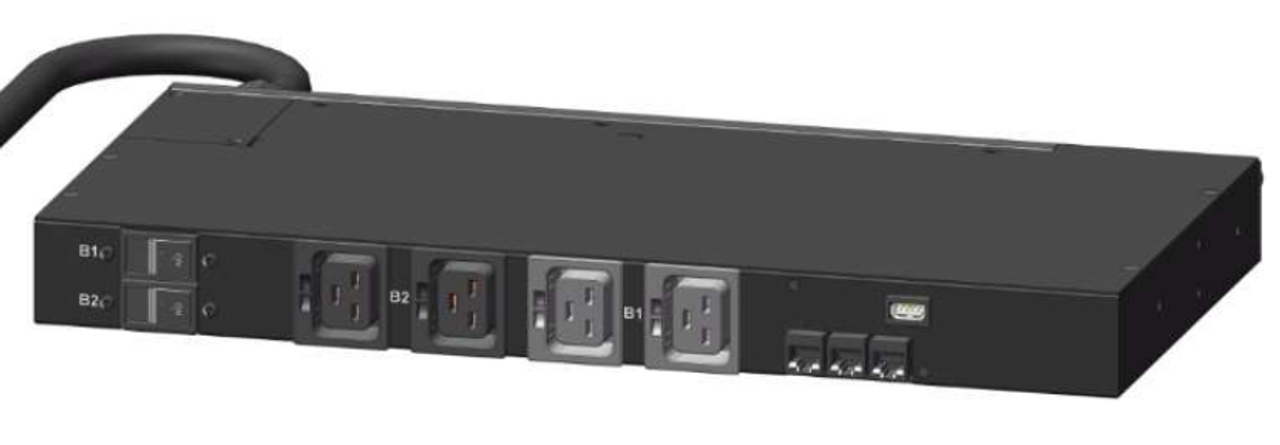 Rear-Top view, shows circuit breakers and rear IEC C19 outlets