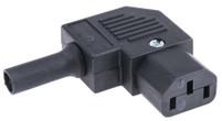 IEC C13 10A 'Left Hand' angle socket - Black