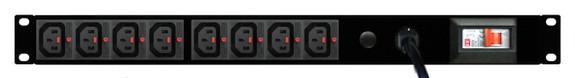 PDU: 8x Outlets | IEC-Lock C13 | 19'' 1RU Horizontal | Cable
