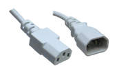 IEC C14 10A plug - IEC C13 10A socket, White lead