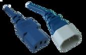 IEC C14 10A plug - IEC C13 10A socket, Blue lead (0.75mm2)