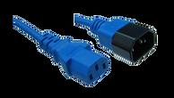 IEC C14 10A plug - IEC C13 10A socket, Blue lead
