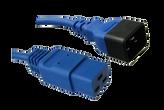 IEC C20 16A plug - IEC C19 16A socket, Blue lead