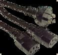 GPO 10A plug - 2x IEC C13 10A sockets, Black lead