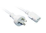 GPO 10A plug - IEC C13 10A socket, WHITE lead
