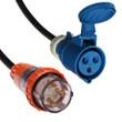 Captive (AS 3123) 32A [IP66] Round pin Plug   >   IEC (60309) 32A [IP44] 2P+E 6H - Blue socket