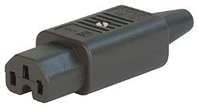 IEC C15 10A (120degC) socket [2.1mm2] - Black