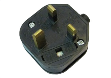 UK (BS1363) 13A fused plug - Black