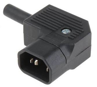 IEC C14 10A 'Left Hand' entry angle plug - Black : Imported