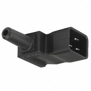 IEC C20 16A 'Left Angle' entry plug - Black