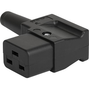 IEC C19 16A 'Left Angle' entry socket - Black