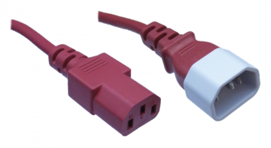 IEC C14 10A plug - IEC C13 10A socket, Red lead
