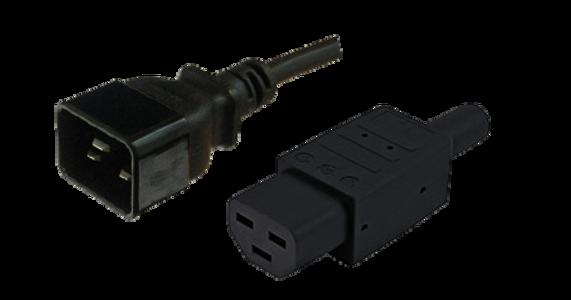 Custom Cable: IEC C20 16A plug - IEC C21 16A '155degC' [fitted] socket, Black lead