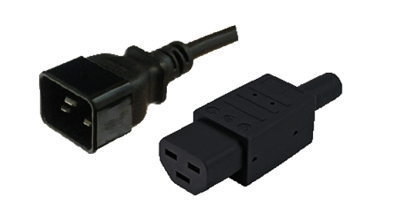 Custom Cable: IEC C20 16A plug - IEC C21 16A '155degC' [fitted] socket, Black lead