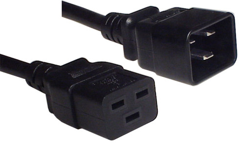IEC C20 16A plug - IEC C19 16A socket, Black lead