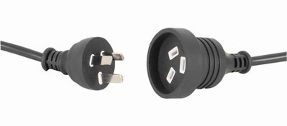 GPO (AS3112) 10A plug - GPO (AS3112) 10A socket, Black lead