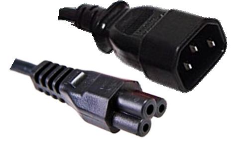 IEC C14 10A plug - IEC C5 'clover' socket (1.0mm2) Black lead