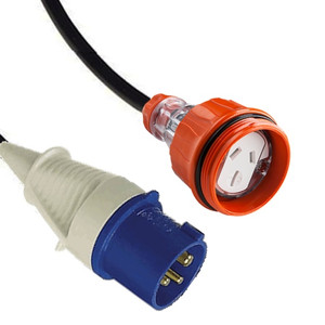 IEC (60309) 16A [IP44] 2P+E 6H - Blue Plug   >   Captive (AS 3123) 15A [IP66] Flat pin socket