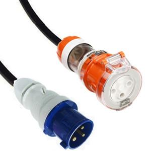 IEC (60309) 32A [IP44] 2P+E 6H - Blue Plug   >   Captive (AS 3123) 32A [IP66] Round pin socket