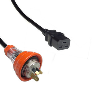 Cable: Captive 15A plug - IEC (60320) C19 16A socket, Black lead