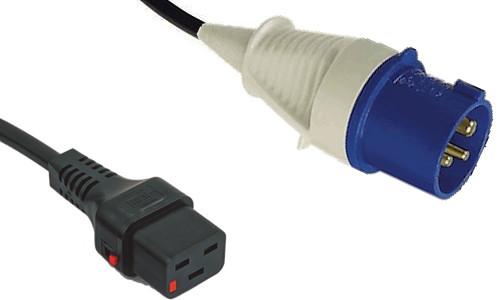 IEC (60309) 16A [IP44] 2P+E '6H' - Blue plug   >   IEC-Lock C19 16A socket