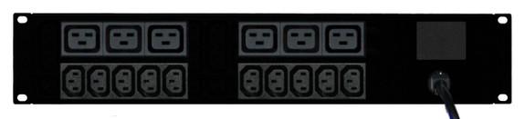 Power Strip: 10+6 Outlets | IEC C13+C19 | 19'' 2RU Horizontal