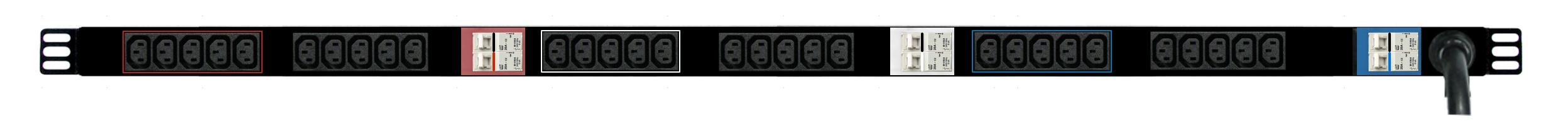 PDU - 3phase: Total 30x IEC C13 10A outlets, 0RU