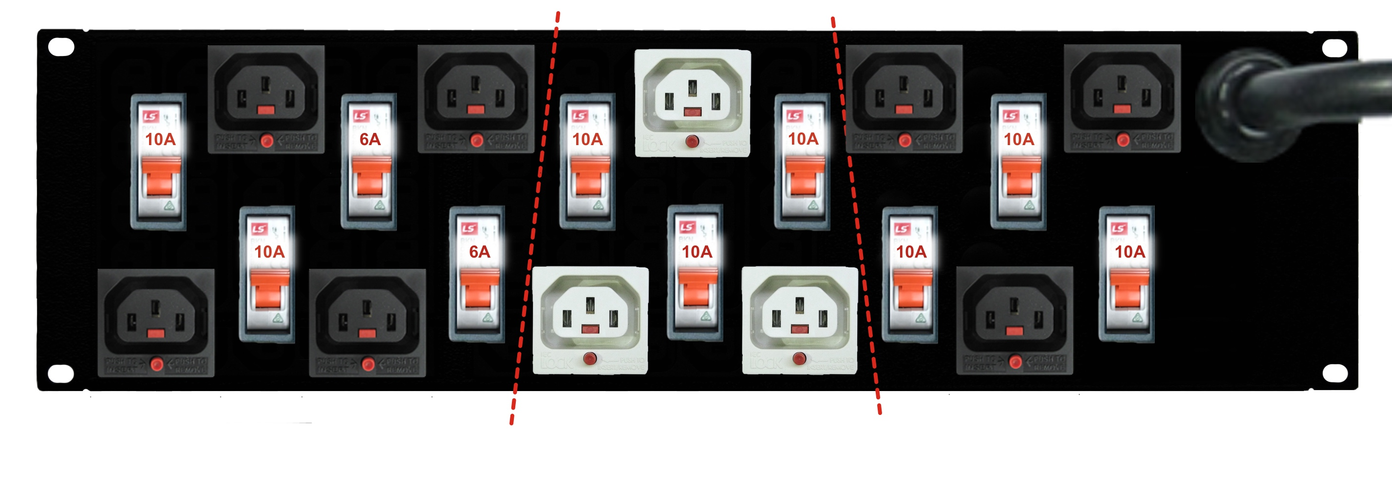 10x IEC-Lock C13 outlets with individual CB