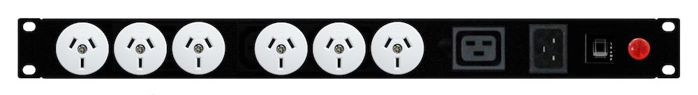 6x GPO 10A, 1x IEC C19, Horizontal, IEC Inlet