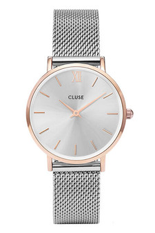 Cluse Minuit Mesh Rose Gold/ Silver Watch CW0101203004