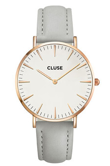 Cluse Boho Chic Rose Gold White Grey Womens Watch CL18015