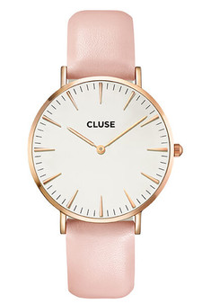 Cluse Boho Chic Rose Gold White Pink Womens Leather Watch CW0101201012