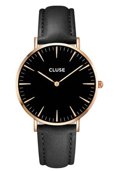 Cluse Boho Chic Rose Gold Black Black Womens Leather Watch CL18001