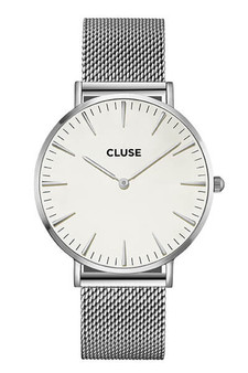 Cluse Boho Chic Mesh Silver/White Womens Mesh Watch CL18105