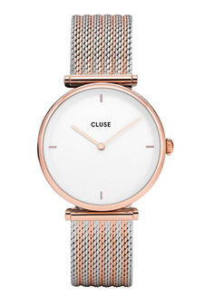 Cluse Triomphe Rose Gold Bicolor Mesh Watch CL61003