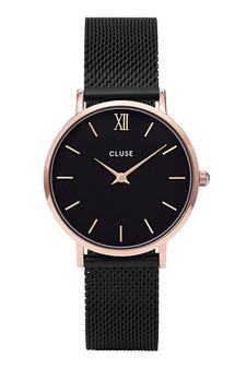 Cluse Minuit Rose Gold Black/Black Mesh Watch CW0101203024