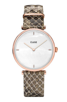 Cluse Triomphe Rose Gold White Pearl/Green Python Watch CL61007